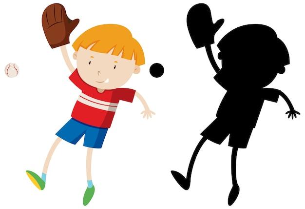 Junge, der baseball mit seiner silhouette spielt