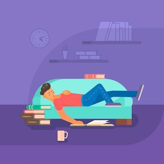Junge, der buch auf der flachen illustration des sofas liest