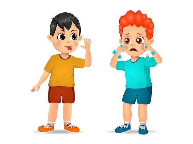 Junge, der dem jungen eine grimasse zeigt, bis er weint. isoliert