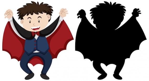 Junge, der dracular in der farbe und im umriss und in der silhouette trägt