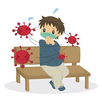 Junge, der durch gefährliche rote viren, karikatur umgibt
