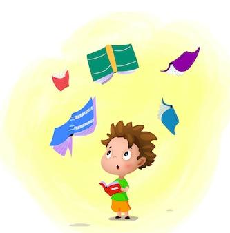 Junge, der ein magisches buch liest