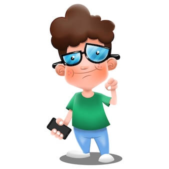 Junge, der ein smartphone und jubelnden karikaturvektor trägt