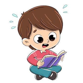 Junge, der ein überraschtes buch liest