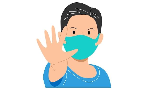 Junge, der eine maske trägt und seine saubere hand als zeichen zeigt, um das virus zu stoppen