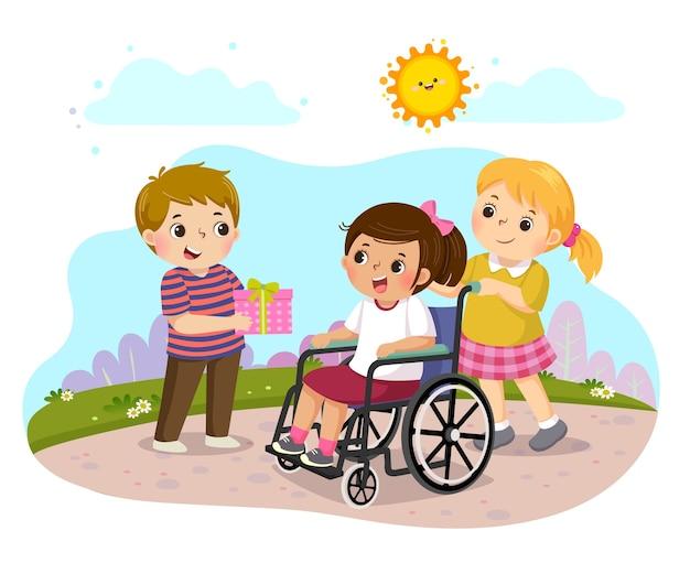 Junge, der einem kleinen behinderten mädchen im rollstuhl ein geschenk gibt