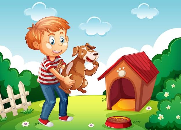 Junge, der einen hund in der weißen hundehütte der naturszene hält