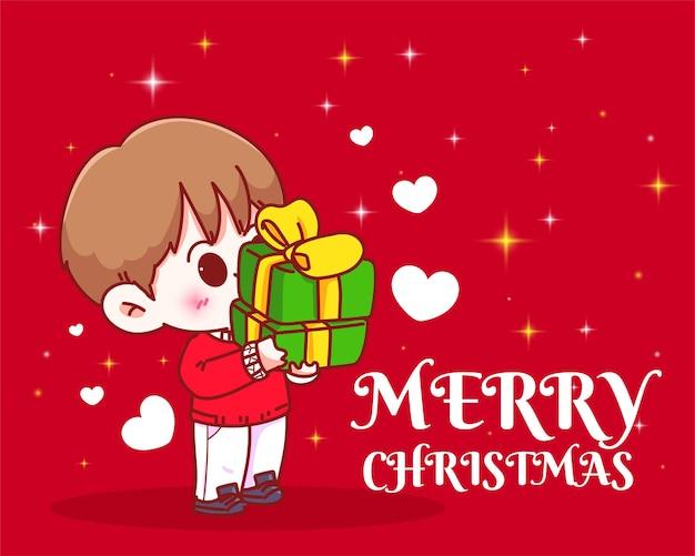 Junge, der einen stapel weihnachtsgeschenke auf gezeichneter karikaturkunstillustration der weihnachtsfeiertagsfeier hält