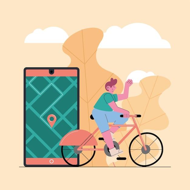 Junge, der fahrrad und smartphone fährt