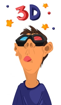 Junge, der filme 3d mit gläsern aufpasst