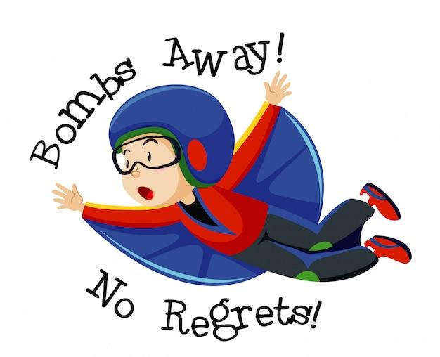Junge, der fliegendes kostüm mit fliegender position-zeichentrickfigur mit bomben weg trägt, bereut keinen text lokalisiert auf weißem hintergrund