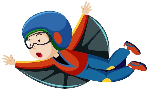 Junge, der fliegendes kostüm mit karikaturfigur der fliegenden position isoliert auf weißem hintergrund trägt