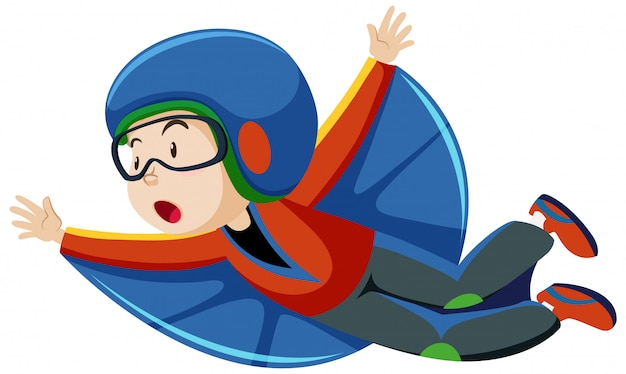 Junge, der fliegendes kostüm mit karikaturfigur der fliegenden position lokalisiert auf weißem hintergrund trägt