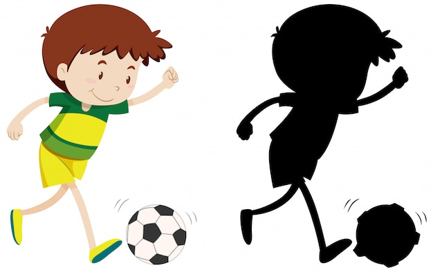 Junge, der fußball in farbe und schattenbild spielt