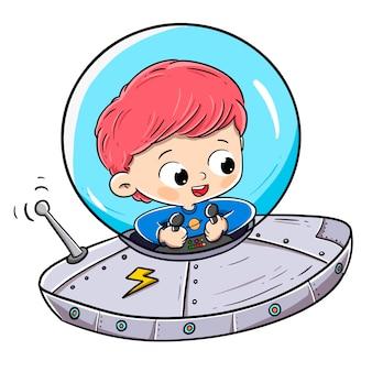 Junge, der in eine fliegende untertasse oder in ein raumschiff reist