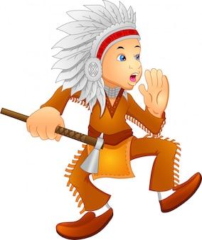 Junge, der indianisches kostüm trägt