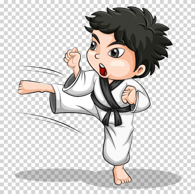 Junge, der karate auf transparentem tut