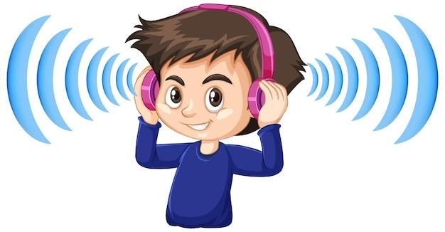 Junge, der kopfhörer mit geräuschunterdrückung trägt
