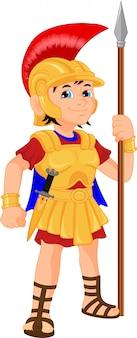 Junge, der kostüm eines römischen soldaten trägt