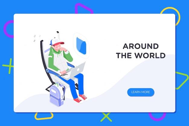 Junge, der laptop im kabinensitz beim reisen mit dem flugzeug verwendet