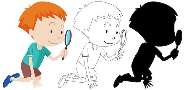 Junge, der lupe mit seinem umriss und der silhouette benutzt