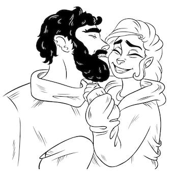 Junge, der mädchen auf der backe küsst
