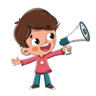 Junge, der mit einem megaphon oder einem sprecher spricht