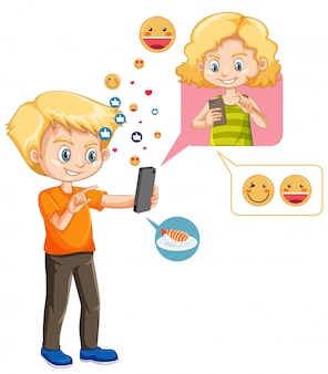 Junge, der mit freund auf smartphone mit emoji-symbol-karikaturstil isoliert plattiert