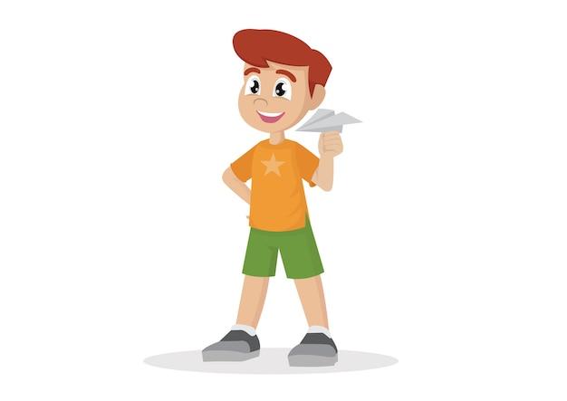 Junge, der mit papierflugzeug spielt.