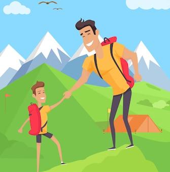 Junge, der mit seinem vater in den bergen klettert