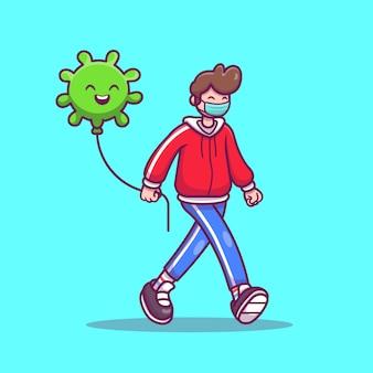 Junge, der mit virus-ballon-karikatur-symbol-illustration geht. people icon concept isoliert. flacher cartoon-stil