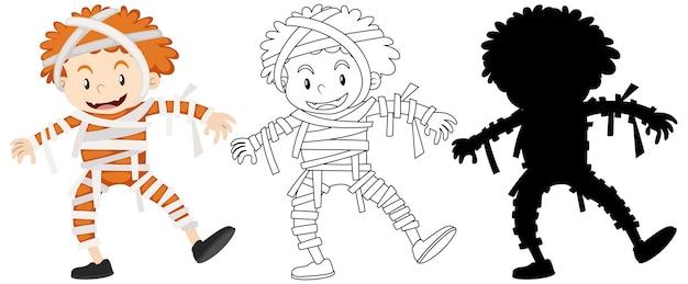 Junge, der mumienkostüm in farbe und umriss und silhouette trägt