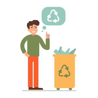 Junge, der plastikflaschen in einem behälter für die wiederverwertung sammelt