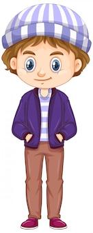 Junge, der purpurrote jacke und hut auf weiß trägt