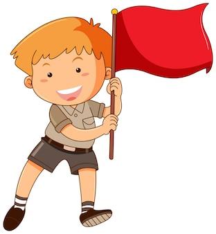 Junge, der rote fahne hält