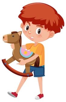 Junge, der schaukelpferd-zeichentrickfigur hält