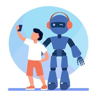 Junge, der selfie mit humanoiden nimmt. kind mit cyborg, kind mit flacher robotervektorillustration. robotik, ingenieurwesen, kindheit
