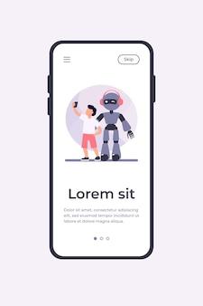 Junge, der selfie mit humanoiden nimmt. kind mit cyborg, kind mit flacher robotervektorillustration. robotik, ingenieurwesen, kindheitskonzept für banner, website-design oder landing-webseite
