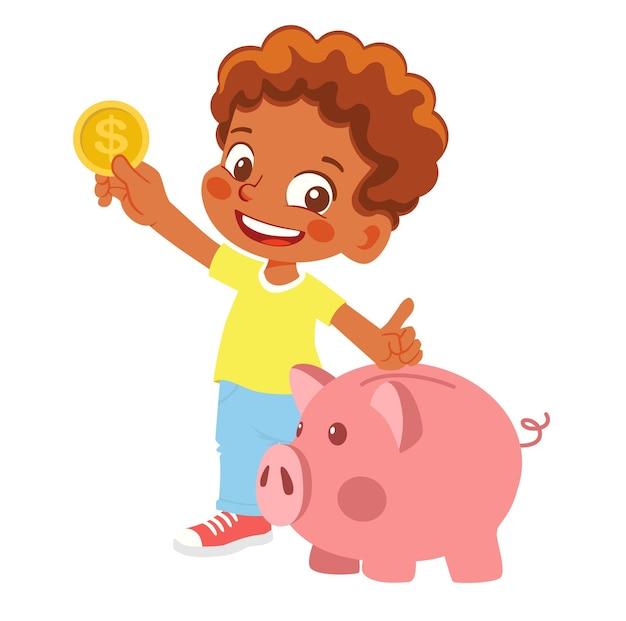 Junge, der sparschwein und geld hält