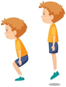 Junge, der springende übungen tut