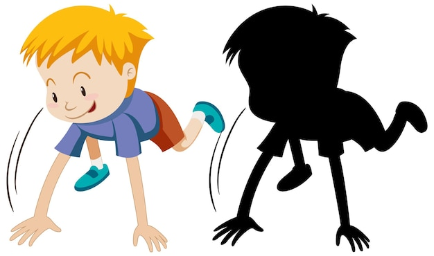 Junge, der startlauf mit seiner silhouette aufwirft