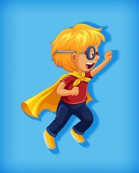 Junge, der superhelden mit würgegriff im stehplatzkarikaturcharakterporträt trägt