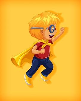 Junge, der superhelden mit würgegriff in stehplatzkarikaturcharakterporträt isoliert trägt