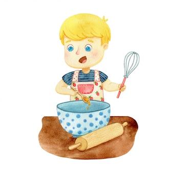 Junge, der teig vorbereitet. aquarellillustration eines bäckers