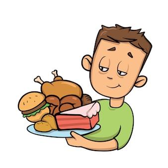 Junge, der teller voll junk food hält. überessen. cartoon-symbol. illustration. auf weißem hintergrund.