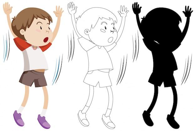Junge, der übung mit seinem umriss und der silhouette tut