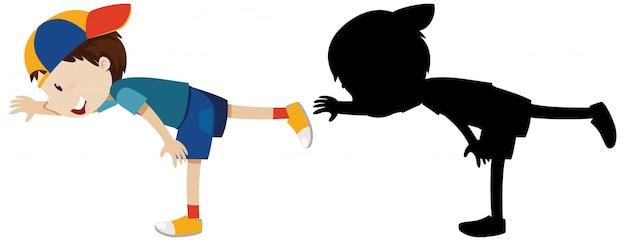 Junge, der übungskardio mit seinem umriss und der silhouette aufwirft