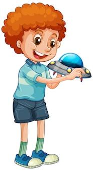 Junge, der ufo-spielzeug hält