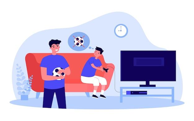 Junge, der videospiele spielt, anstatt mit seinem bruder fußball zu spielen. kind mit controller, mann mit ball flachbild vector illustration. sport, gesunder lebensstil, spielkonzept für banner, website-design