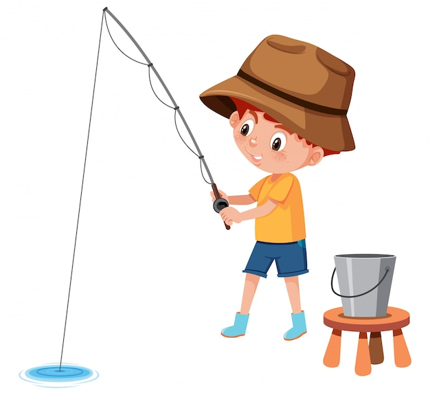 Junge, der weißen hintergrund fischt